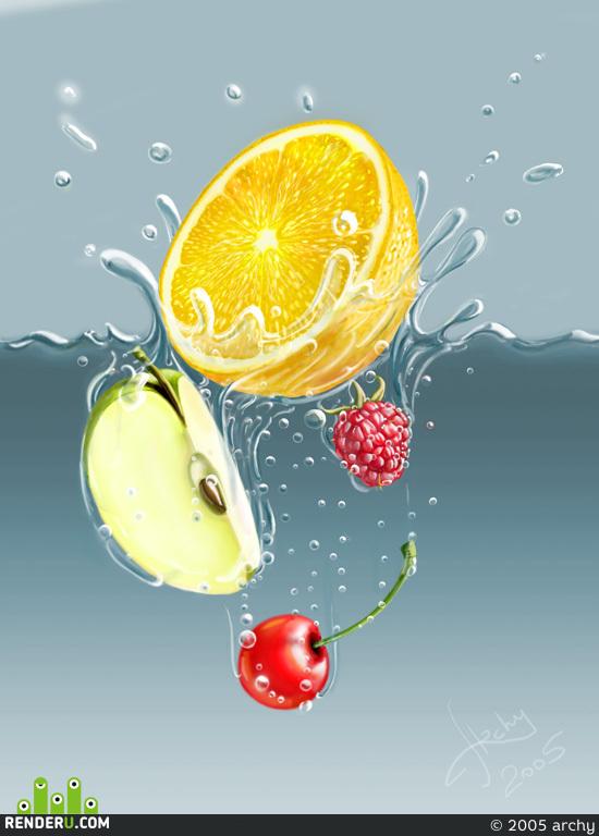 preview Fruktyi padayuschie v vodu