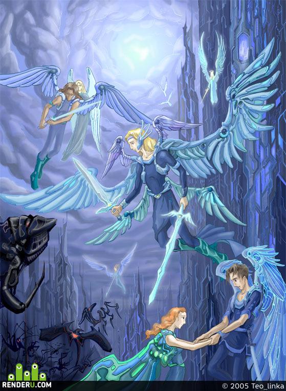 preview Battle: winged men against robots.