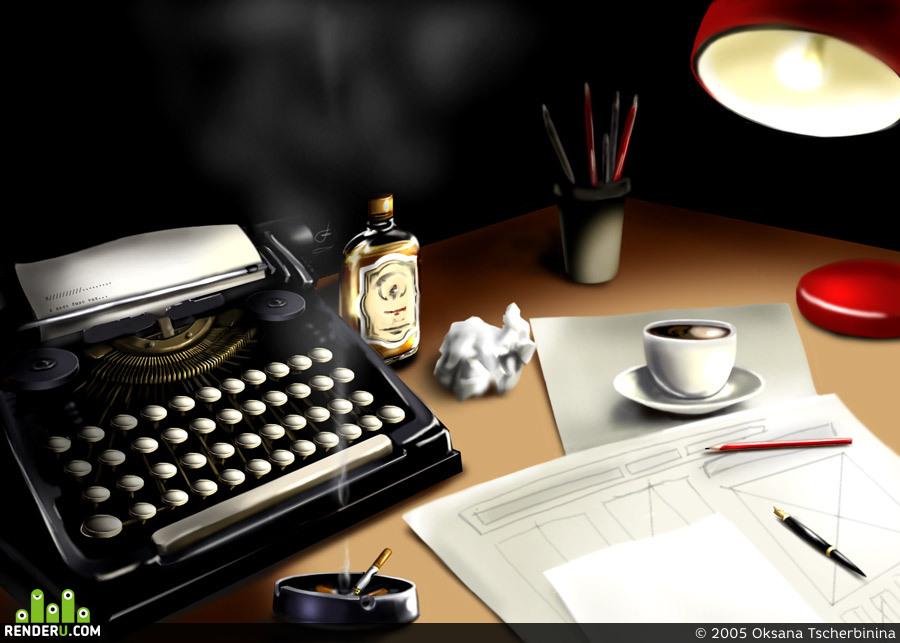 preview Ночь, лампа, печатная машинка