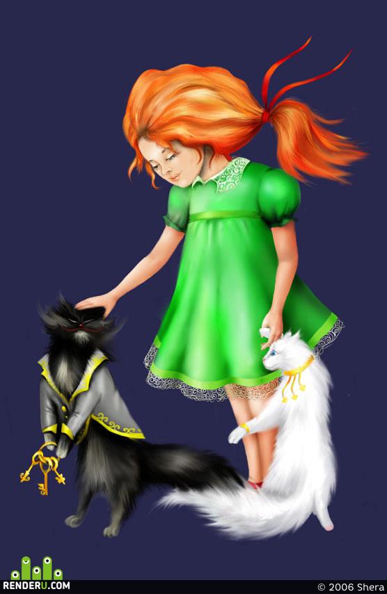 preview Девочка и кошки