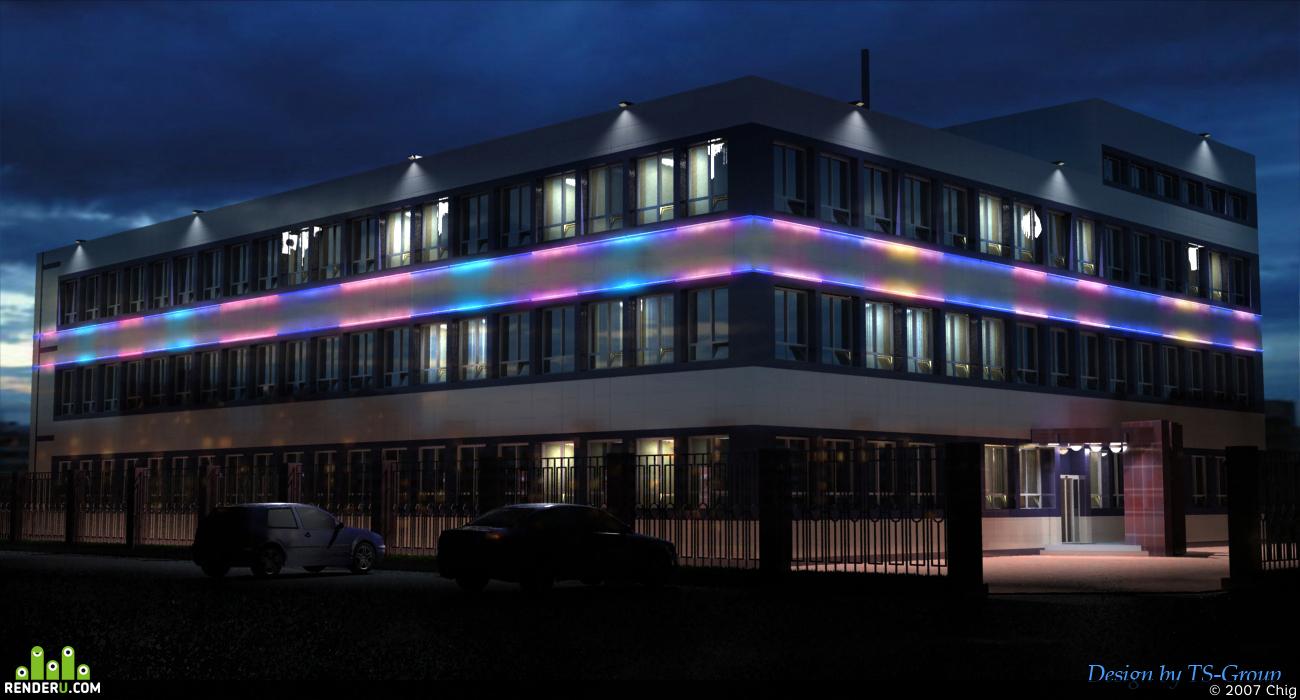 preview Архитектурное освещение оффисного здания
