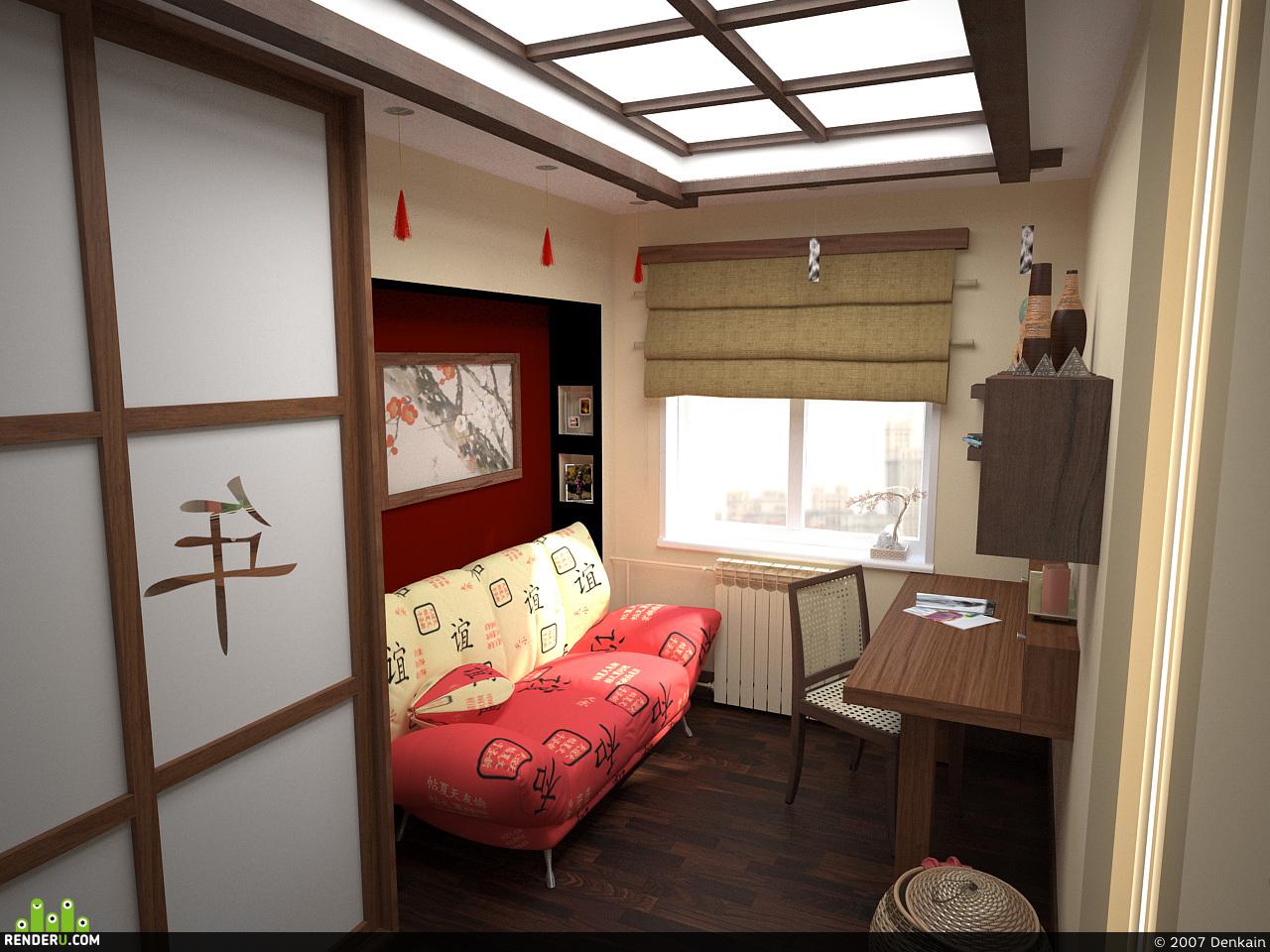 preview Интерьер комнаты в восточном стиле.