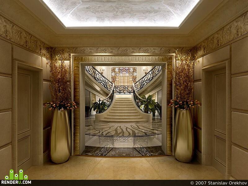 preview Холл загородного дома. Вход и 2й этаж.