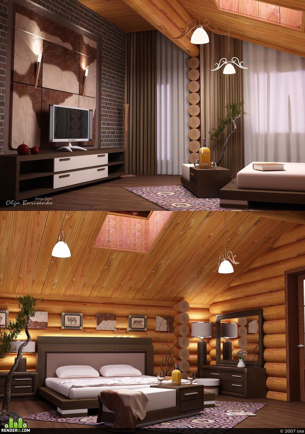 preview спальня в деревянном домике