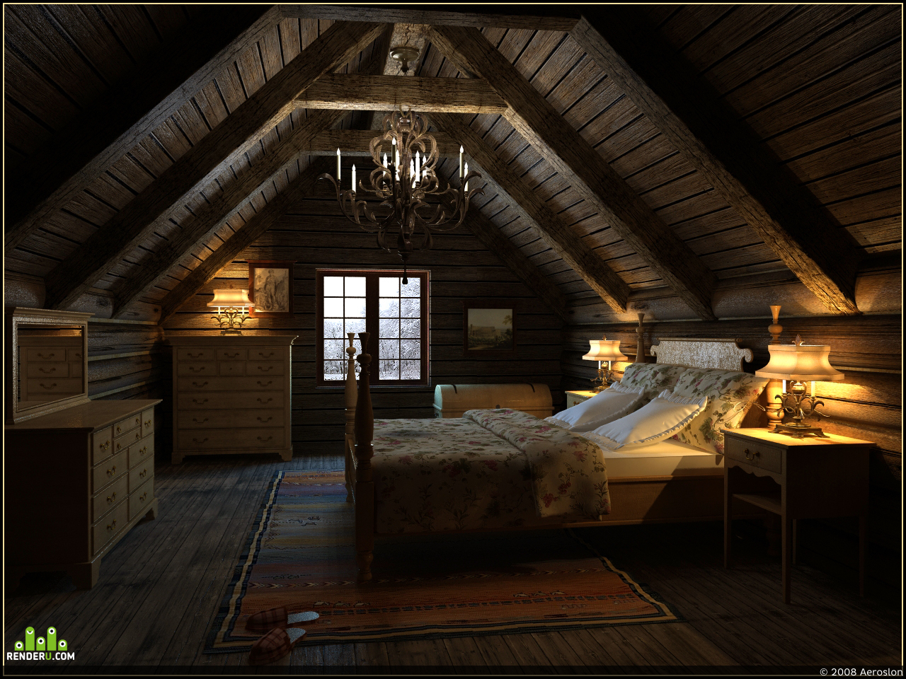 preview Бревна, доски и кровать