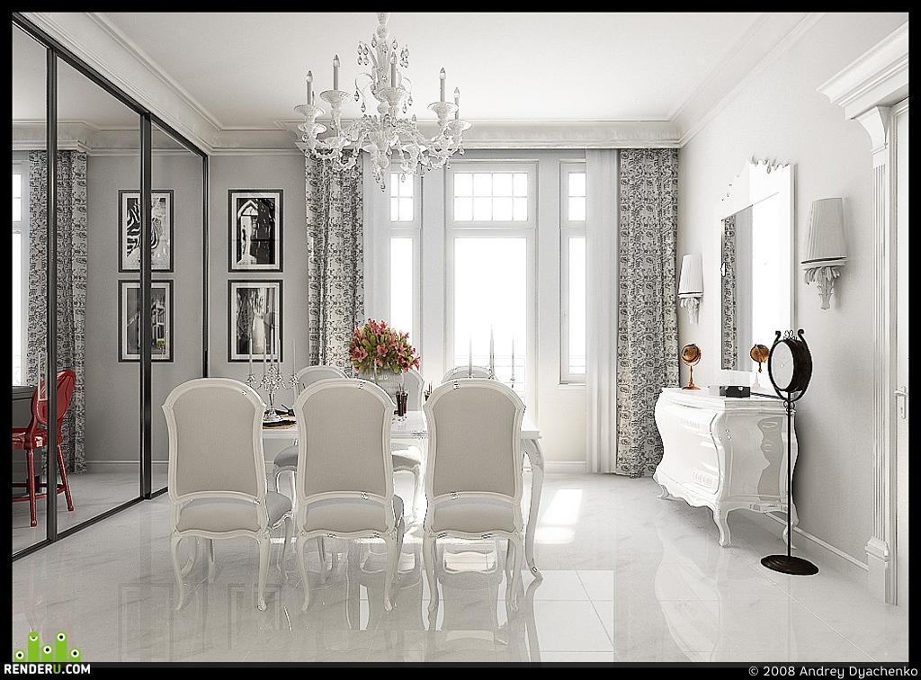 preview гостиная в чёрно-белой гамме