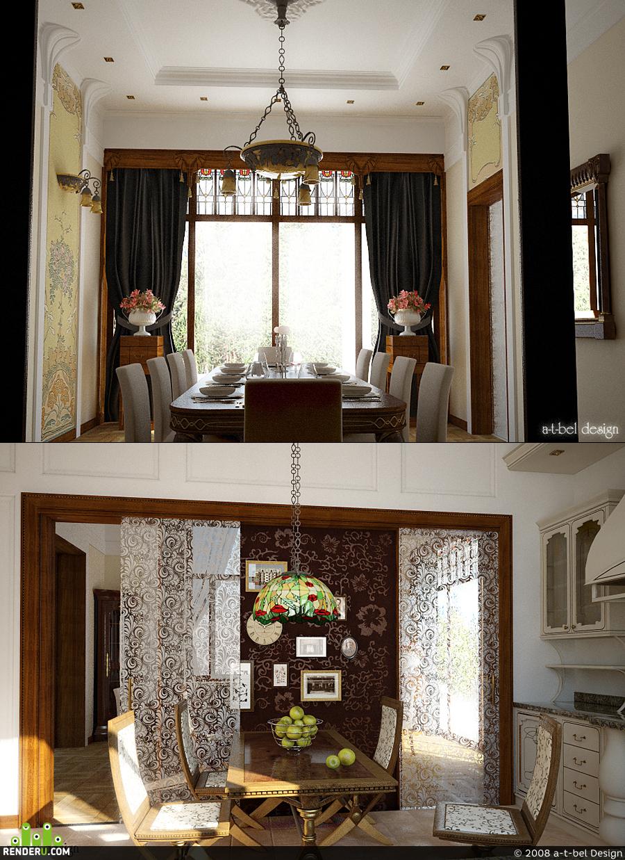 preview Кухня и гостинная в стиле Ар-Нуво