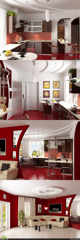preview Кухня-Гостинная RED