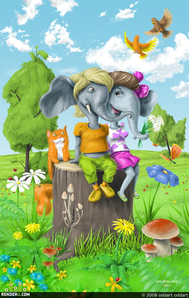 preview Влюбленные слоники