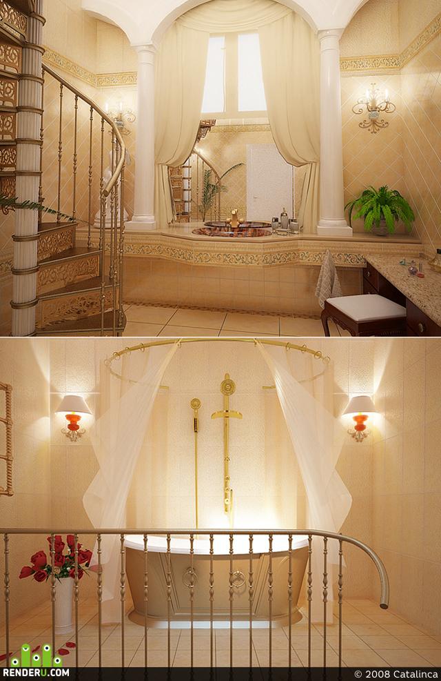 preview двухэтажная ванная комната в элитном коттедже