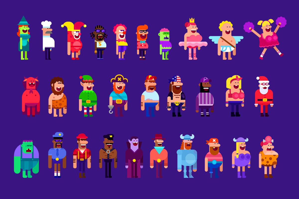 Поиск типажа героев. Люди (часть изображенных героев не вошла в игру).png