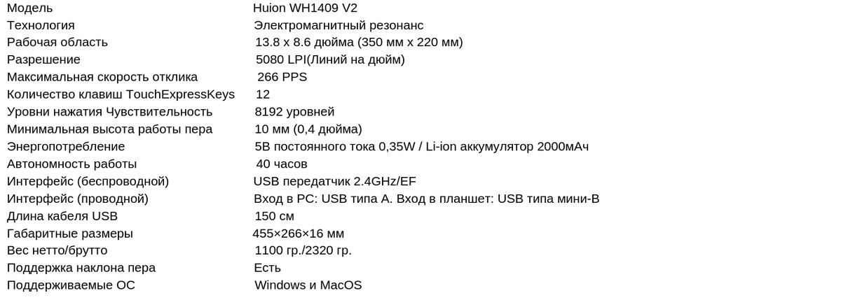 Модель Huion WH1409 V2 Технология Электромагнитный резонанс Рабочая область 13.8 x 8.6 дюйма (350 мм x 220 мм) Разрешение 5080 LPI(Линий на дюйм) Максимальная скорость отклика 266 PPS Количество клавиш TouchExp (2).png