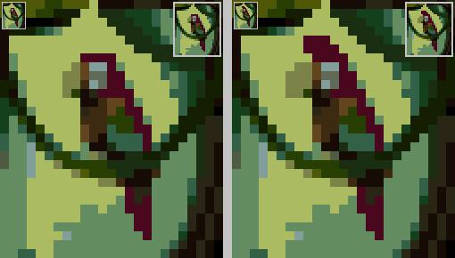 Всего несколько пикселей сдвинулись вбок и это уже другой попугай.