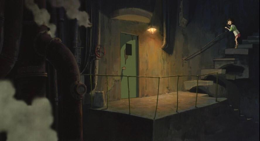 Унесённые призраками. Тихиро спускается к деду Камази.jpg