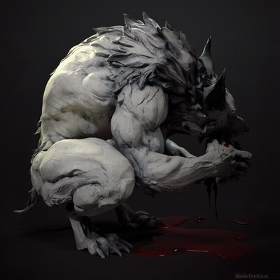 Оборотень, Комиксы, Волк, собака, монстр, скульптура
