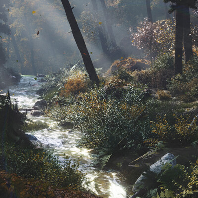 осень, лес, ручей, туман