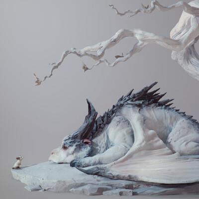 дракон, Китай, мышь, животное, Милота, скульптура, Фэнтези