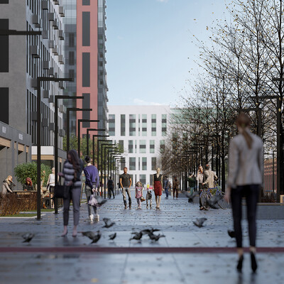 architecture, 3d visualization, citypark, Urban, streetdesigne, Exterior, streetlife, coronarender.