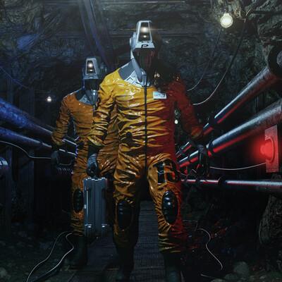 робот, туннель, Фантастика