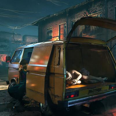transporter, cars, 90's, 90-е, gangsters, criminal, cg art