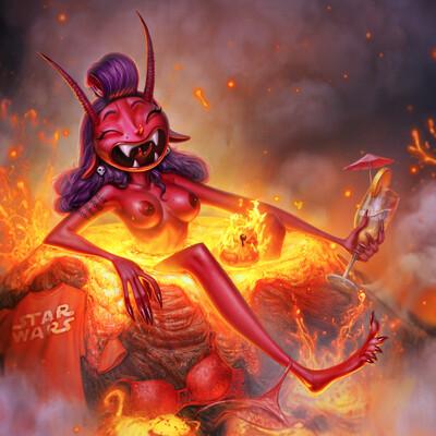Digital 2D, Characters, Concept Art, Animation, red, Cartoon, georgeredreev, inktober2018, devil