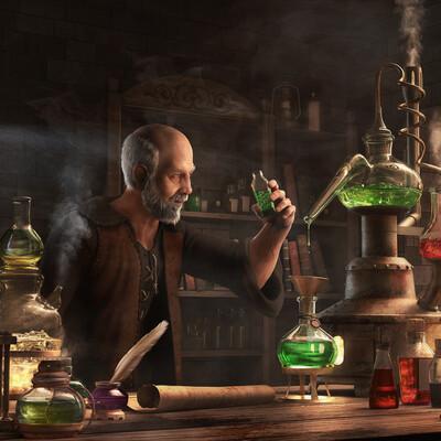 3д персонаж, эффекты, жидкость, химия