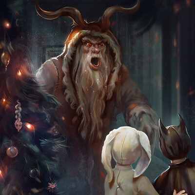Fantasy, christmas, Santa Claus, Krampus, Horror, christmas tree, Presents, Children