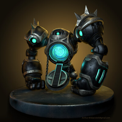 midpoly, lowpoly, Hearthstone fan art, PBR, mechwarper