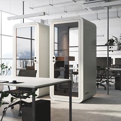 интерьер, минимализм, офис, рендер, кабинка, визуализация