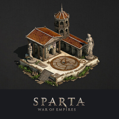 digital 3d, environment desigh, Buildings, Sparta, Retopology, lowpoly, Plarium