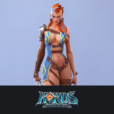 digital 3d, character, design_character, 3d character, girl warrior, Nords, Plarium