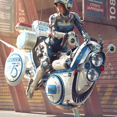 sci-fi, мотоцикл, девушка