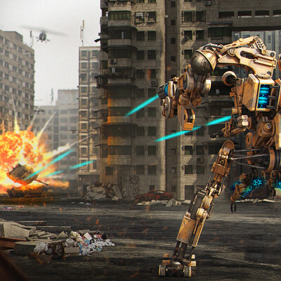 sci-fi, robot, action, city, environment desigh, environment, art, digitalart, illustration, fire