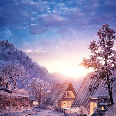 зима, горы, лес