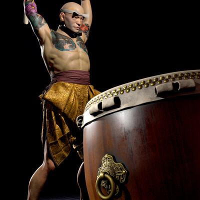 digital, Characters, Feudal Japan – The Shogunate, AntGal, AGalivets, AntonGalivets, Taiko Drummer, 3d character
