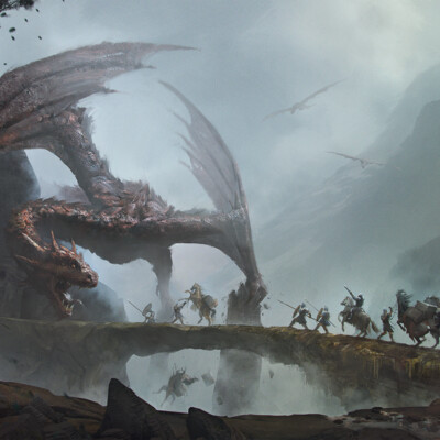 Караван, дракон, воины, скалы, лошади