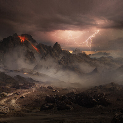 Matte painting, Concept Art, mountains, environment design, environment