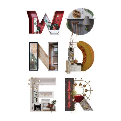 буквы, 3Dsmax, Corona Renderer