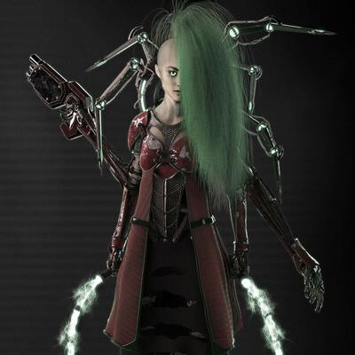 scifi, concept, concept-art, cyborg girl, cyborg, Japan, cybersamurai, cyber punk, cyber, Character