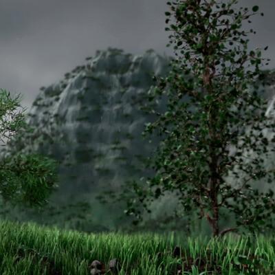 дождь, процедурно, Деревья, трава, Симуляция воды, Симуляция жидкости, облака, Природа, procedural texturing, cg generalist
