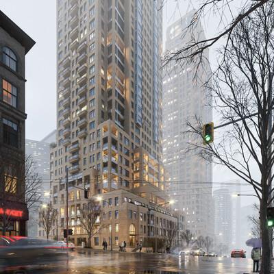 Небоскреб, жилой комплекс, Визуализация, 3d моделирование, Экстерьер, канада, архитектура, архитектурная визуализация, архитектурное моделирование, визуализация небоскреба