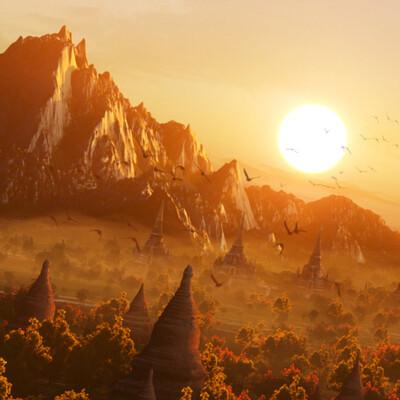 закат, Природа, Храм, воздушный шар