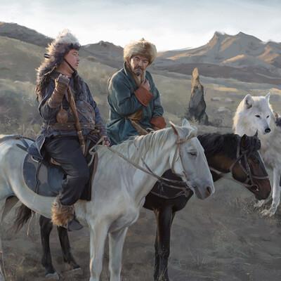 DIgital painting, cg art, Fantasy, Parkomat, Kazakhstan, Кочевники, Паркомат, Лошадь, Волк
