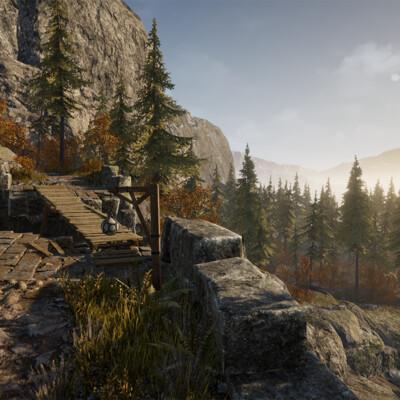 Дизайн уровней, Unreal Engine, leveldesign, level, Деревья, Деревня у реки, заброшенный, Древний храм