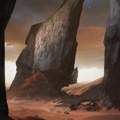 Концепт-арт, концепт, окружение, пустыня, скалы, пыль, закат