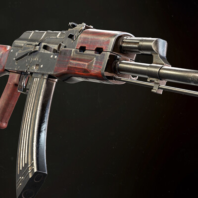 AKM, military, riffle, weapon, game assets, Game Low-poly