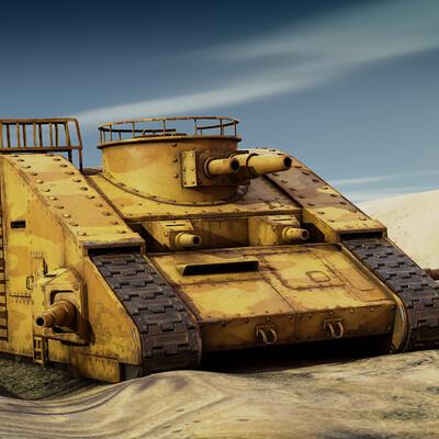 iron kaputt, calambur, tank, lowpoly, PBR