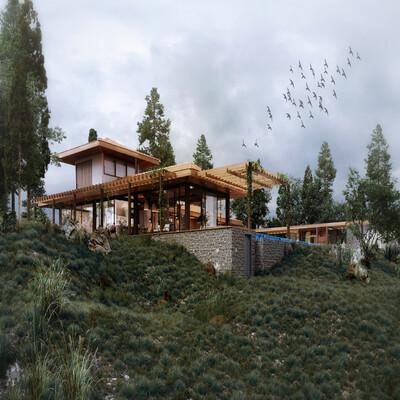 3д архитектура, дизайн, Компьютерная графика/CG, интерьер, Экстерьер, Пейзаж, горы, небоскребы, бразилия, коттедж