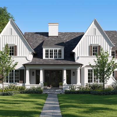 white house, white, house, Cottage, green