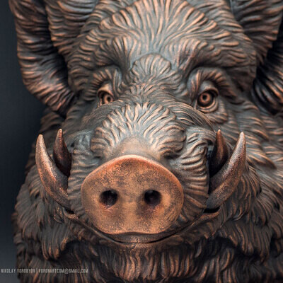 sculpting, 3Dprinting, casting, voronart, wildboar, Animals, boar, sculpture, resin